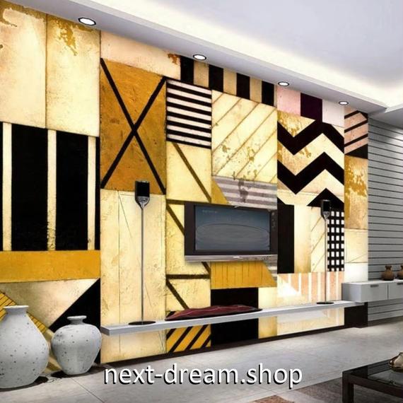 3D 壁紙 1ピース 1㎡ 木の板 モダンアート ストライプ DIY リフォーム インテリア 部屋 寝室 防湿 防音 h03219
