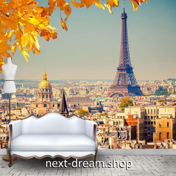 3D 壁紙 1ピース 1㎡ シティ風景 カエデの葉 パリ DIY リフォーム インテリア 部屋 寝室 防湿 防音 h03338