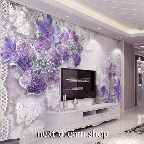 3D 壁紙 1ピース 1㎡ ジュエリー 紫 花 真珠 DIY リフォーム インテリア 部屋 寝室 防湿 防音 h03269