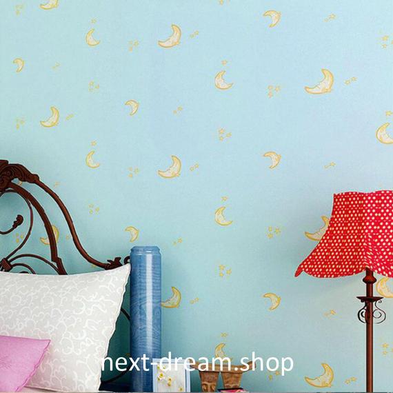 3D 壁紙 53×1000㎝ 子供部屋 夜空 月 DIY 不織布 カビ対策 防湿 防水 吸音 インテリア 寝室 リビング h02032