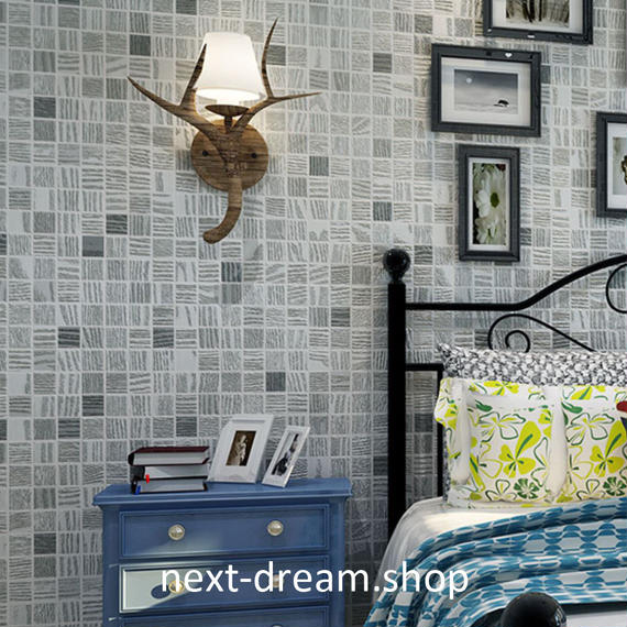 3D 壁紙 53×1000㎝ モザイク格子 チェック DIY 不織布 カビ対策 防湿 防水 吸音 インテリア 寝室 リビング h02027