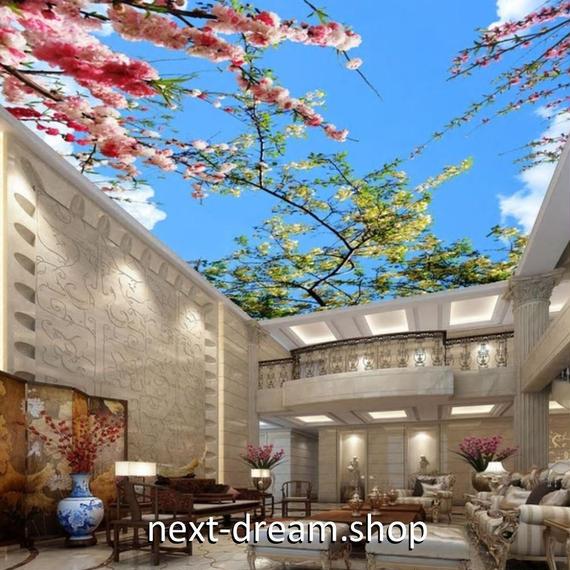3D 壁紙 1ピース 1㎡ 自然風景 梅の花 桜 青空 天井用 インテリア 装飾 寝室 リビング 耐水 防湿 h02677
