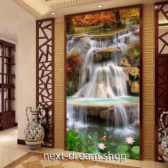 3D 壁紙 玄関用 1ピース 1㎡ 自然風景 紅葉 小さな滝と池 インテリア 装飾 部屋 耐水 防湿 耐衝撃 騒音吸収 h02739