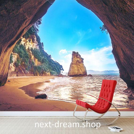 3D 壁紙 1ピース 1㎡ 自然風景 洞窟 海 ビーチ インテリア 装飾 寝室 リビング h02147