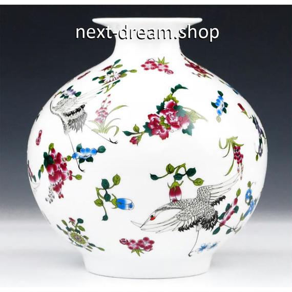 新品送料込  花瓶 鶴 磁器 壺 柄 アンティーク ヴィンテージ 高級装飾 ホームインテリア 贈り物  m00547