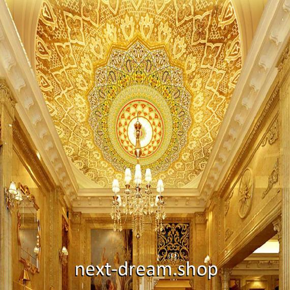 3D 壁紙 1ピース 1㎡ ヨーロッパレトロ ホテルロビー 天井用 インテリア 装飾 寝室 リビング 耐水 防湿 h02669