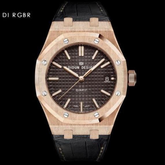 Didun 高級腕時計 クォーツ 耐衝撃 30メートル防水 レザーバンド 希少品 DI RGBR 00120