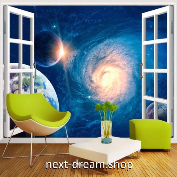 3D 壁紙 玄関用 1ピース 1㎡ 宇宙風景 窓からの景色 惑星 インテリア 装飾 部屋 耐水 防湿 耐衝撃 騒音吸収 h02741