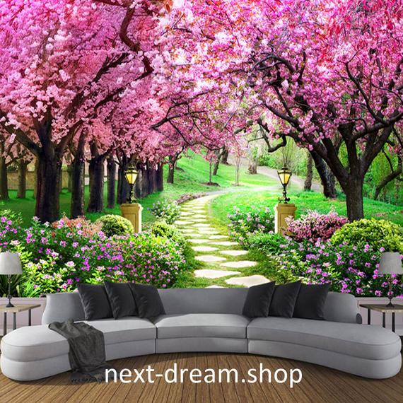 3D 壁紙 1ピース 1㎡ 自然風景 桜並木 花 春 ピンク 庭 おしゃれクロス インテリア 装飾 寝室 リビング h02161