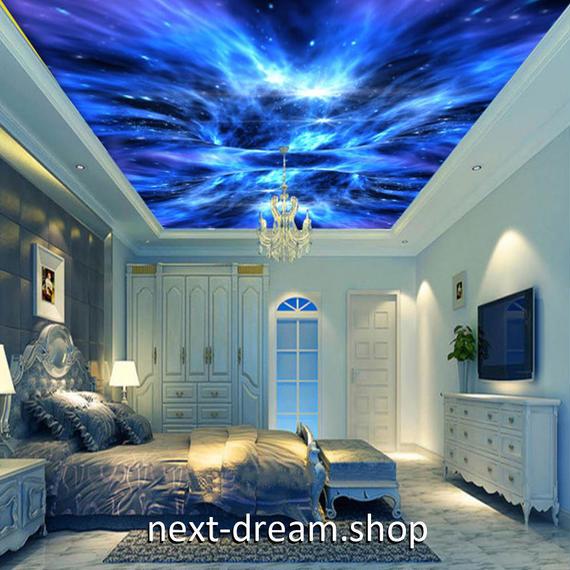 3D 壁紙 1ピース 1㎡ 宇宙 オーロラ モダンアート 天井用 インテリア 装飾 寝室 リビング 耐水 防湿 h02675