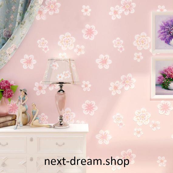 3D 壁紙 53×1000㎝ 花柄 フェミニン DIY 不織布 カビ対策 防湿 防水 吸音 インテリア 寝室 リビング h02091