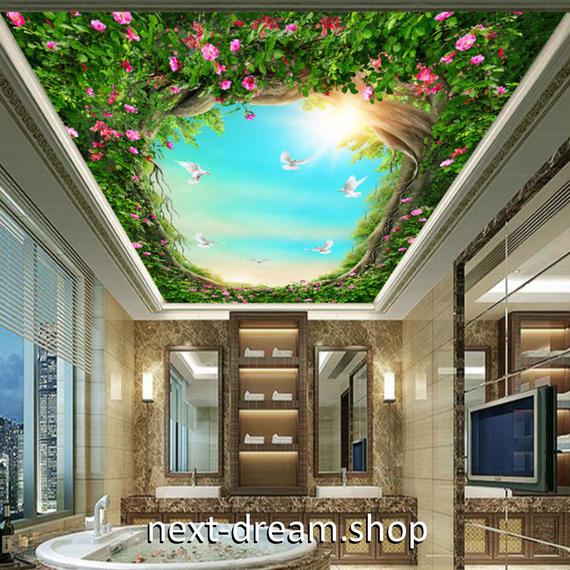 3D 壁紙 1ピース 1㎡ 自然風景 青空 太陽 森 鳥 天井用 インテリア 装飾 寝室 リビング 耐水 防湿 h02673