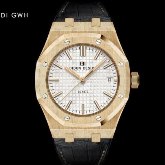 Didun 高級腕時計 クォーツ 耐衝撃 30メートル防水 レザーバンド 希少品 DI GWH 00120