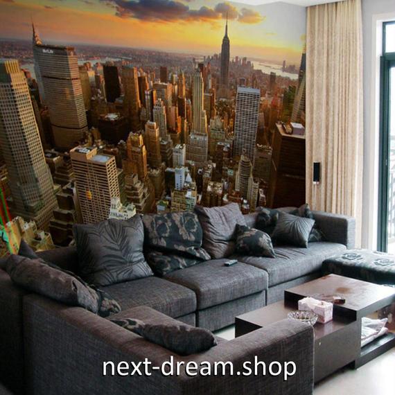 3D 壁紙 1ピース 1㎡ シティ風景 空からの景色 NY DIY リフォーム インテリア 部屋 寝室 防湿 防音 h03313