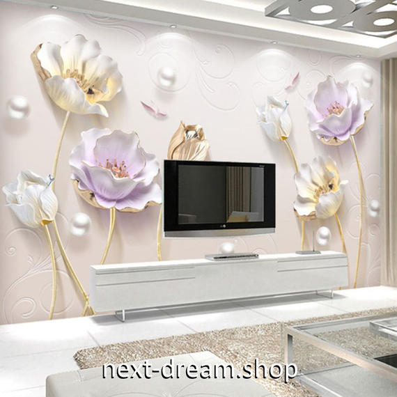 3D 壁紙 1ピース 1㎡ モダン 花 チューリップ DIY リフォーム インテリア 部屋 寝室 防湿 防音 h03268