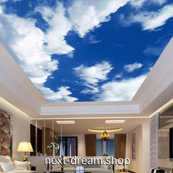 3D 壁紙 1ピース 1㎡ 自然風景 青い空 白い雲 天井用 インテリア 装飾 寝室 リビング 耐水 防湿 h02681