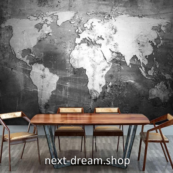 3D 壁紙 1ピース 1㎡ モノクロ 世界地図 白黒 DIY リフォーム インテリア 部屋 寝室 防湿 防音 h03314