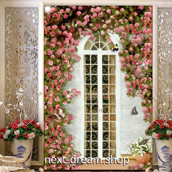 3D 壁紙 玄関用 1ピース 1㎡ ヨーロッパ風 薔薇園 ピンクローズ インテリア 装飾 部屋 耐水 防湿 耐衝撃 騒音吸収 h02738