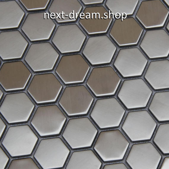 3D壁紙 29.8×29.8cm 11枚セット 六角形タイル 銀 蜂の巣風 DIY リフォーム インテリア 部屋/キッチン/トイレにも h04383