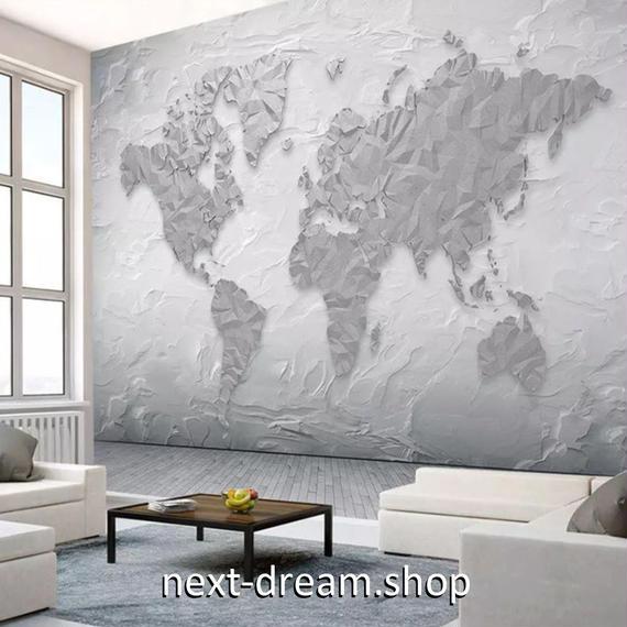 3D 壁紙 1ピース 1㎡ 世界地図 石の壁 グレー DIY リフォーム インテリア 部屋 寝室 防湿 防音 h03195