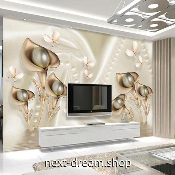 3D 壁紙 1ピース 1㎡ 宝石 アート 蝶々 花 DIY リフォーム インテリア 部屋 寝室 防湿 防音 h03256