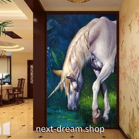 3D 壁紙 玄関用 1ピース 1㎡ 油絵 ユニコーン 馬 インテリア 装飾 部屋 耐水 防湿 耐衝撃 騒音吸収 h02728