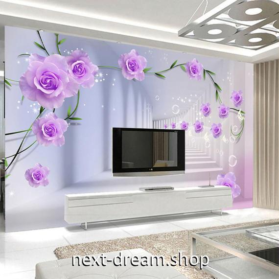 3D 壁紙 1ピース 1㎡ 立体空間 廊下 紫の花 DIY リフォーム インテリア 部屋 寝室 防湿 防音 h03208