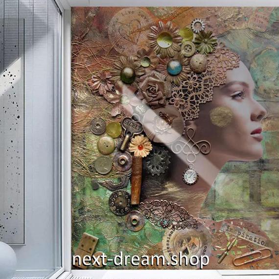 3D 壁紙 玄関用 1ピース 1㎡ 肖像画 モダンレトロ アート インテリア 装飾 部屋 耐水 防湿 耐衝撃 騒音吸収 h02748