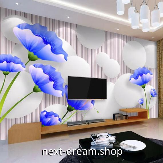 3D 壁紙 1ピース 1㎡ ストライプ 青い花 ボール DIY リフォーム インテリア 部屋 寝室 防湿 防音 h03227