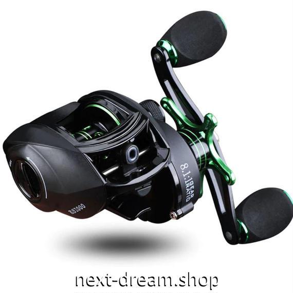 新品 ベイトリール 釣り道具 お洒落 フィッシング  磁気ブレーキ 超軽量 黒×グリーン 右ハンドル 左ハンドル m01950