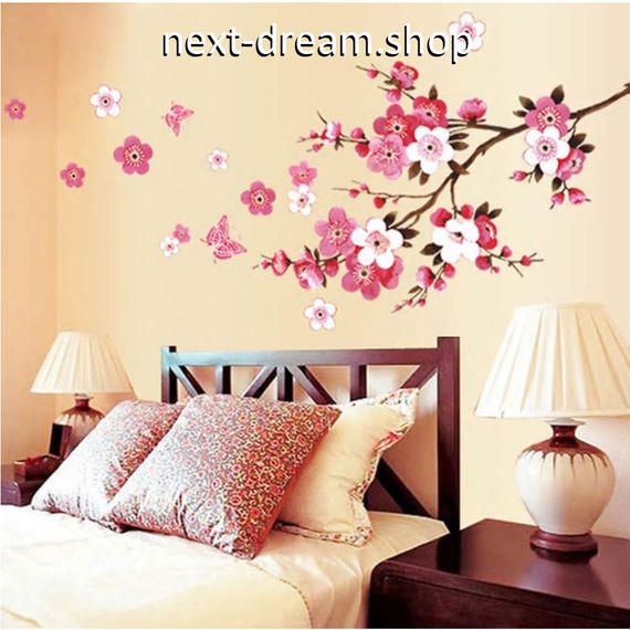 ウォールステッカー  桃の花 ピンク 春 和風  壁用シール DIY おしゃれ キッチン 寝室 リビング トイレ  m01373