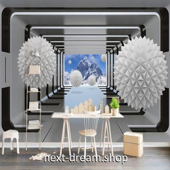 3D 壁紙 1ピース 1㎡ 立体空間 近未来 自然風景 DIY リフォーム インテリア 部屋 寝室 防湿 防音 h03191
