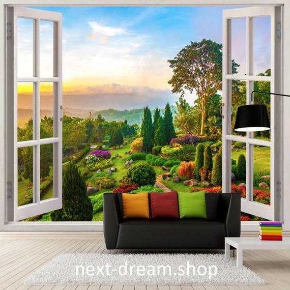 3D 壁紙 1ピース 1㎡ 自然風景 窓 ガーデン 庭 インテリア 装飾 寝室 リビング h02146