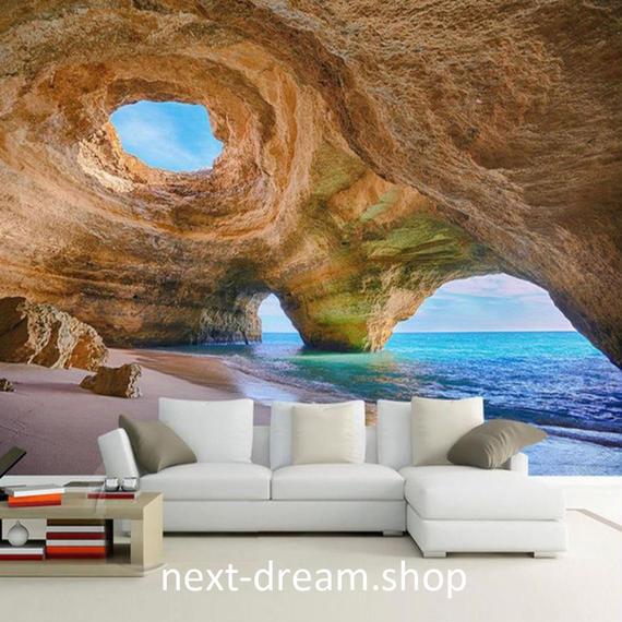 3D 壁紙 1ピース 1㎡ 自然風景 洞窟 海 鍾乳洞 インテリア 装飾 寝室 リビング h02145