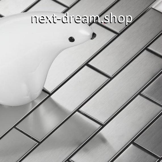 3D壁紙 30.2×30.2cm 11枚セット 長方形タイル 銀 レンガ風 DIY リフォーム インテリア 部屋/キッチン/トイレにも h04387