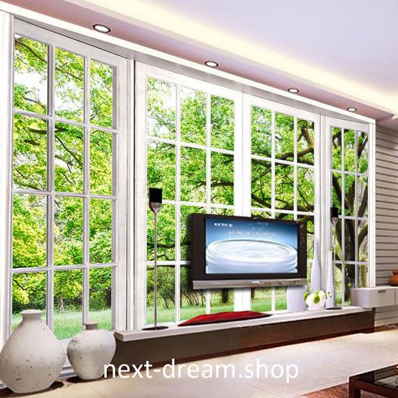 3D 壁紙 1ピース 1㎡ 自然風景 窓 森林浴 癒し インテリア 装飾 寝室 リビング h02163