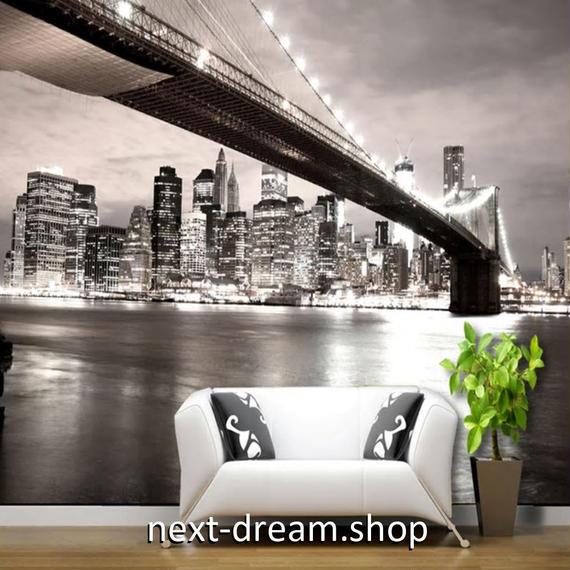 3D 壁紙 1ピース 1㎡ シティ風景 夜景 モノクロ DIY リフォーム インテリア 部屋 寝室 防湿 防音 h03329