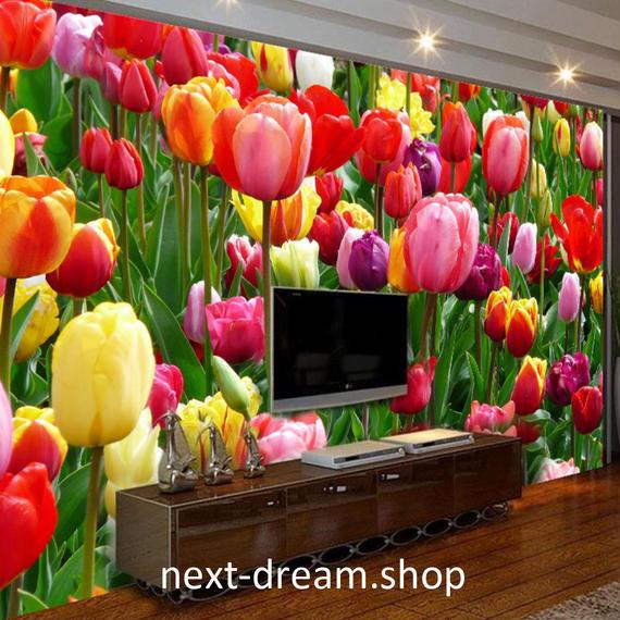 3D 壁紙 1ピース 1㎡ 自然風景 花 チューリップ畑 癒し カラフル インテリア 装飾 寝室 リビング h02157