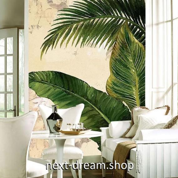 3D 壁紙 玄関用 1ピース 1㎡ パームリーフ バナナの葉 インテリア 装飾 部屋 耐水 防湿 耐衝撃 騒音吸収 h02736