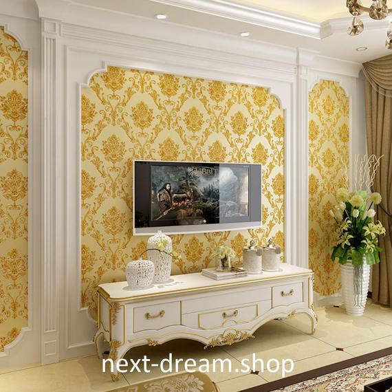 3D 壁紙 53×1000㎝ 花柄 ダマスク DIY 不織布 カビ対策 防湿 防水 吸音 インテリア 寝室 リビング h02053