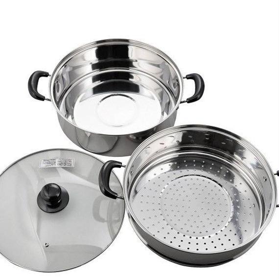 鍋 スチーマー 蒸し器 30cm 二段 IH対応 ステンレス ヴェンセ 3層鋼2段 二段蒸し器 00328