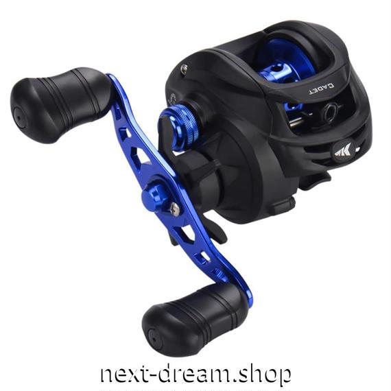 新品 ベイトリール 釣り道具 フィッシング ナイロンフレーム 磁気ブレーキ 黒×青 右ハンドル 左ハンドル m01920