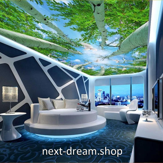 3D 壁紙 1ピース 1㎡ 自然風景 森林 青空 鳩 天井用 インテリア 装飾 寝室 リビング 耐水 防湿 h02685