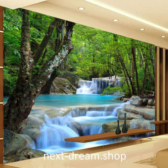 3D 壁紙 1ピース 1㎡ 自然風景 森林浴 癒し 小川 インテリア 装飾 寝室 リビング h02156