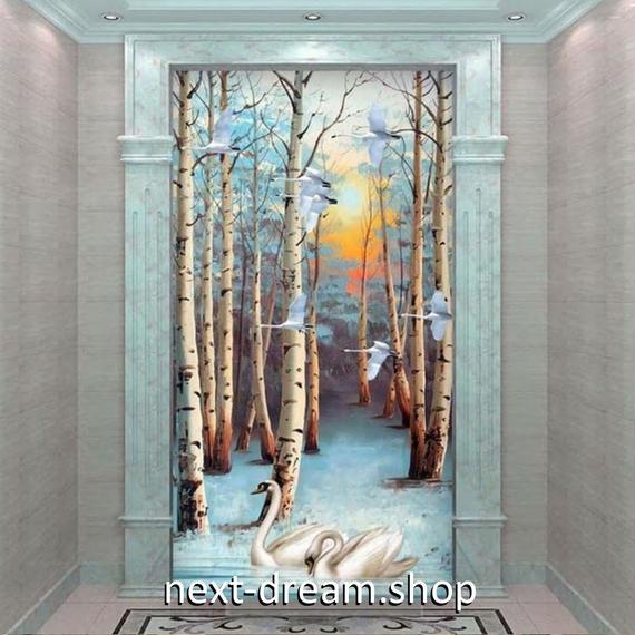 3D 壁紙 玄関用 1ピース 1㎡ 白樺の木 スワン 白鳥 インテリア 装飾 部屋 耐水 防湿 耐衝撃 騒音吸収 h02731