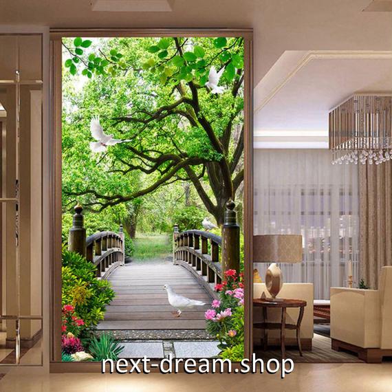 3D 壁紙 玄関用 1ピース 1㎡ 植物 公園 橋 鳩 インテリア 装飾 部屋 耐水 防湿 耐衝撃 騒音吸収 h02737