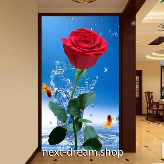 3D 壁紙 玄関用 1ピース 1㎡ 自然風景 ローズ 赤い薔薇 金魚 インテリア 装飾 部屋 耐水 防湿 耐衝撃 騒音吸収 h02727