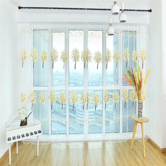 希少 デザイン かわいい カラフル ツリー柄 寝室 リビングルーム レース W100cm-H200cm 00437