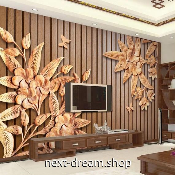3D 壁紙 1ピース 1㎡ 木彫りデザイン 花 ストライプ DIY リフォーム インテリア 部屋 寝室 防湿 防音 h03278
