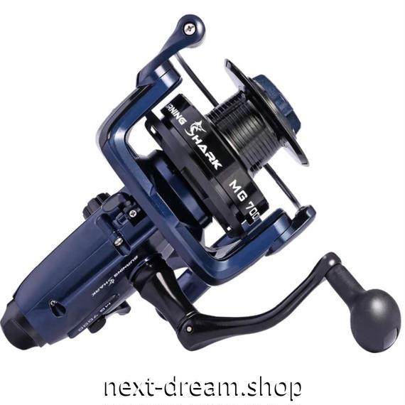 新品 スピニングリール 釣り道具 フィッシング MG7000 鯉釣り 高速 高性能ベアリング 黒×ネイビー m01996